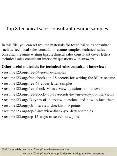 Technical Sales Manager Sle Resume by Top 8 Technical Sales Consultant Resume Sles