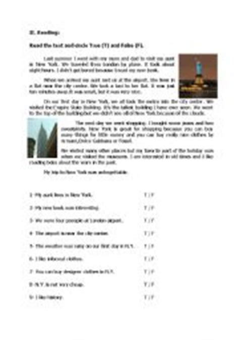 reading comprehension test intermediate esl reading comprehension with true false questions pre