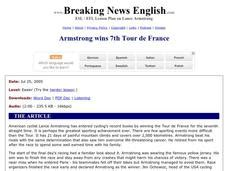 breaking news english english news readings level 5 breaking news english armstrong wins 7th tour de france