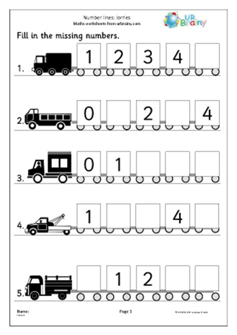 printable worksheets reception number lines 5 lorries number lines maths worksheets