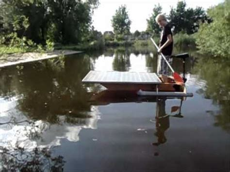 homemade punt boat homemade plywood boat with solar panel and outrigger youtube