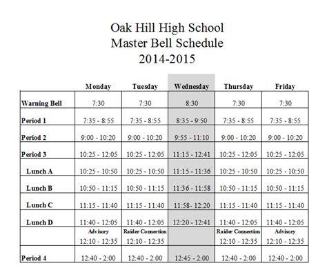 fruita 8 9 bell schedule bell schedule oak hill high school website