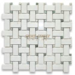 thassos white 1x2 basketweave mosaic tile w green dots