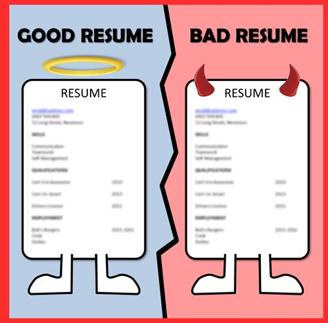 What Jobs To Put On Resume by Good Vs Bad Resume Resume Ideas