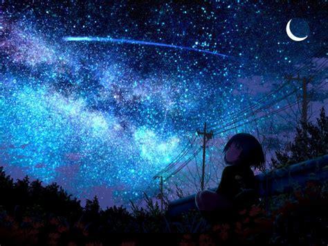 lonely girl starring shooting star wallpaper hd anime