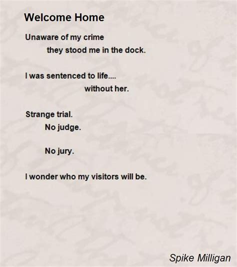 welcome home poem by spike milligan poem