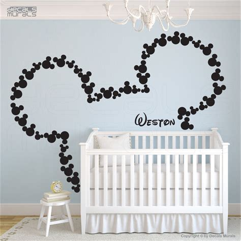baby mickey mouse wall stickers wall decals mickey mouse inspired ears personalized baby surface graphics by decals murals