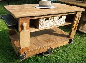 Modern rustic kitchen island cart with walnut stained top