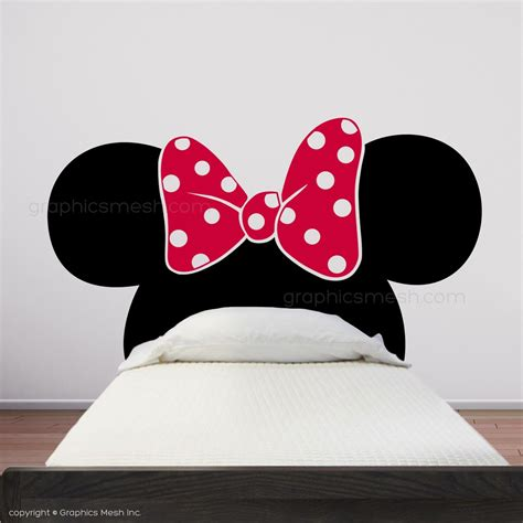 minnie mouse ears with bow headboard wall decals