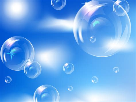 Bubbles in Sky PPT PPT Backgrounds   3D, Blue, Colors