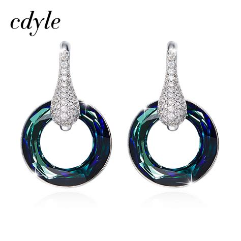 S925 Sterling Silver Hoop Earring cdyle crystals from swarovski hoop earrings earring