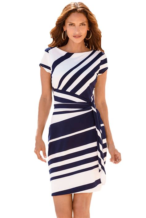 Dress Navy Stripe fashion navy white stripe knot sheath dress