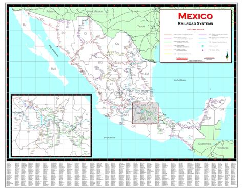 railway system map of mexico deskmap systems printed railroad maps geographical