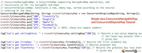 tutorial java util java concurrentnavigablemap and concurrentskiplistmap