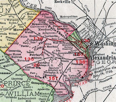 Virginia Search Fairfax County Fairfax County Virginia Map 1911 Rand Mcnally Falls Church Herndon Annandale