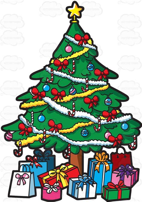 cartoon christmas tree december a tree of presents clipart by vector