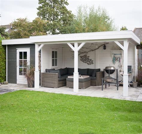 tuinhuis wit met grijze deuren lugarde rechthoekig tuinhuis met brede overkapping tp47b