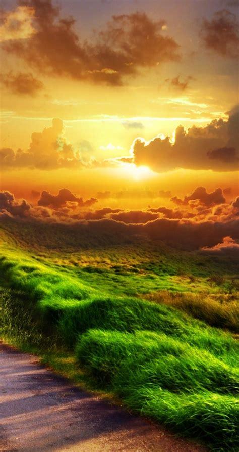 country road   beautiful sunset hd wallpaper