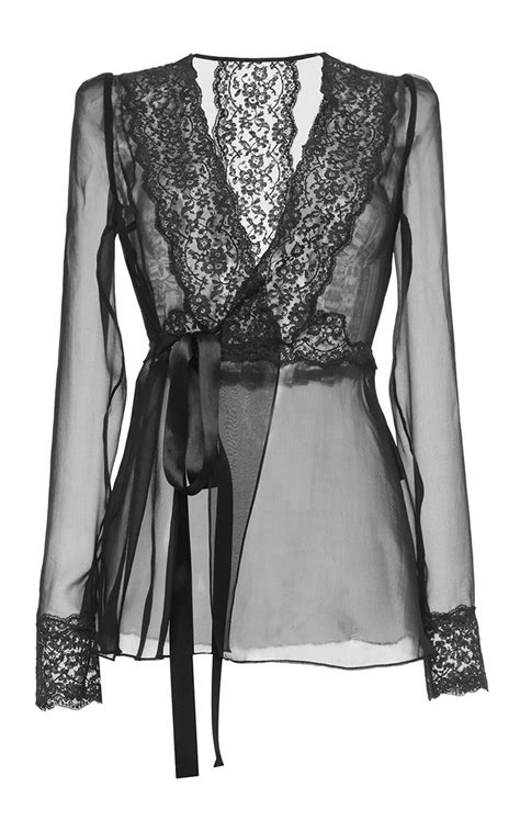 Mix Lace Shirt Black lyst dolce gabbana silk blend chiffon lace wrap blouse in black