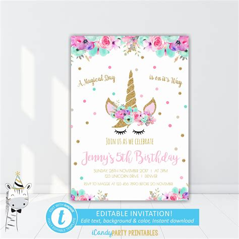 18 Best Unicorn Invitation Free Printable Invitation Template Ideas By Tutnam Unicorn Invitations Free Template