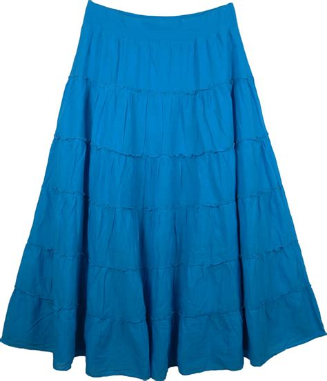 tiered blue maxi silhouette skirt clothing sale on