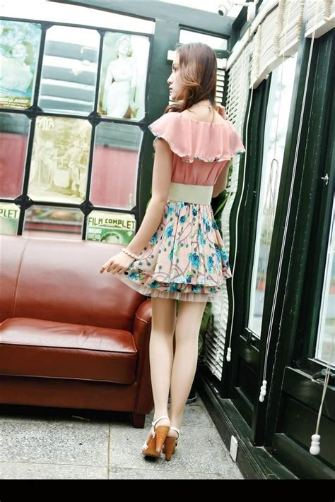 D55 10 Mini Dress Lengan Pendek Sifon Hijau Kancing Depan mini dress import cantik bunga model terbaru jual