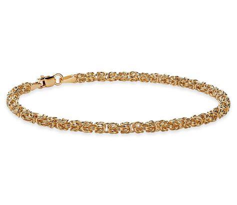 Gelang Bangle Titanium 20 byzantine bracelet in 14k yellow gold blue nile