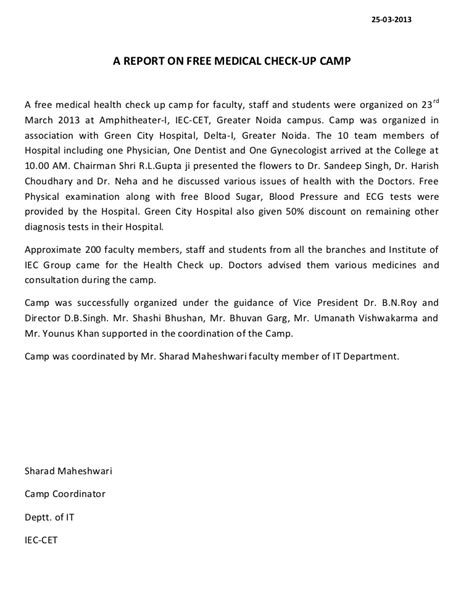 send a letter a report of free health check up c 1617