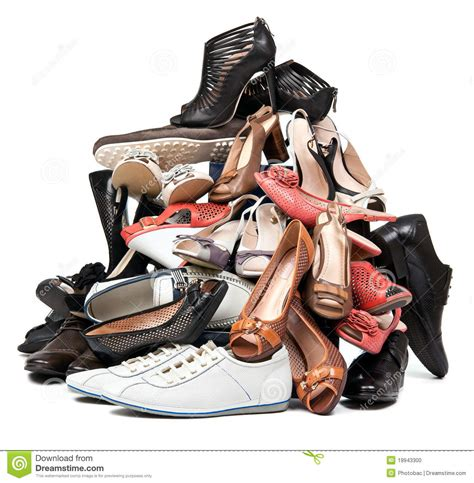 sneaker stock pile of various and shoes stock photo image