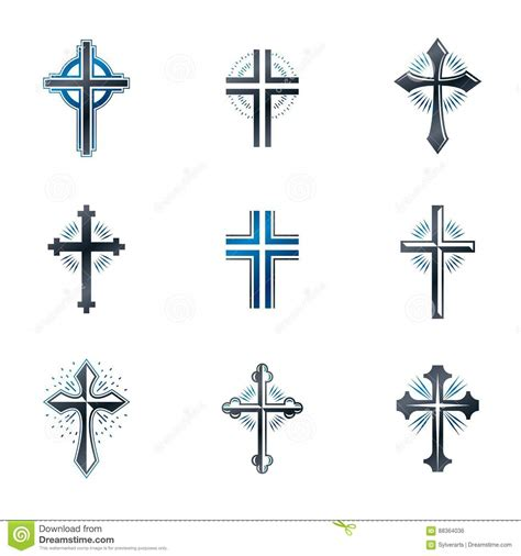 heraldic design elements vector crosses of christianity emblems set heraldic vector