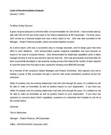 Recommendation Letter For A Finance Student Sle Letter Of Recommendation For Student 8 Exles In Pdf Word
