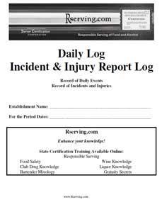 incident report book template incident report log