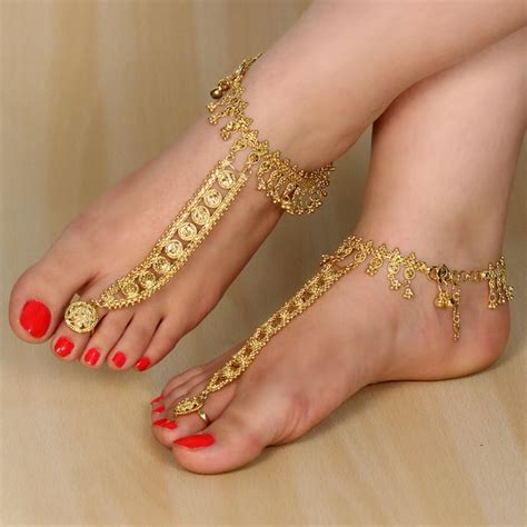 this is a brand new gold tone indian anklet payal with