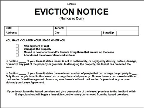 12 eviction notice template exles templates assistant