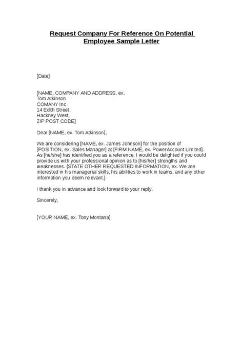 Reference Letter For Employee Sle Request Company For Reference On Potential Employee Sle