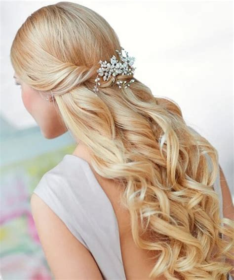 wedding hair half up half curls hairstyles for brides