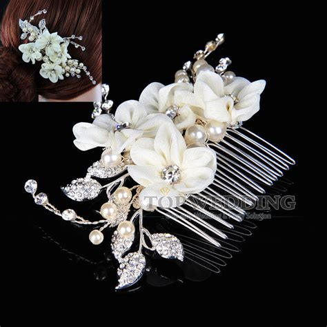 pearl and crystal hair comb elegant wedding prom bridal jewelry beige flower hair comb