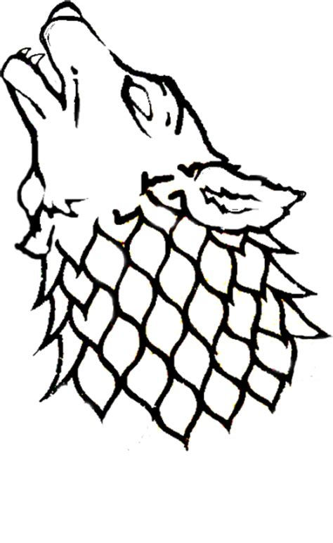 house stark sigil wolf howling at the moon drawing tattoo sketch coloring page