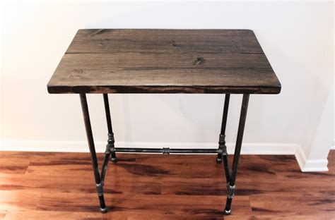 black iron pipe desk shabby black varnished teak wood standing desk black