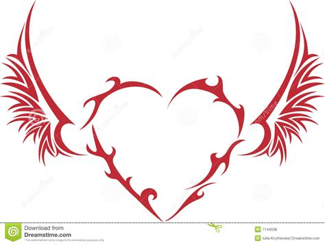 tribal heart with wings royalty free stock photos image