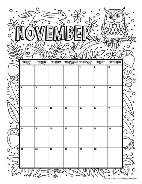 november color november 2018 coloring calendar page agenda november