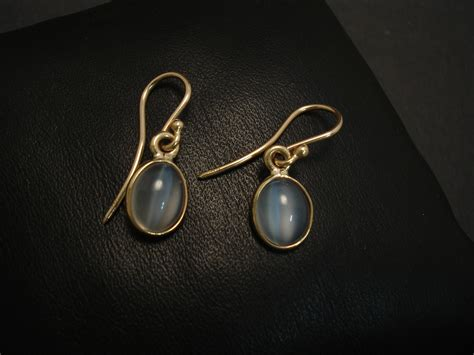 simple clean style gold moonstone earrings