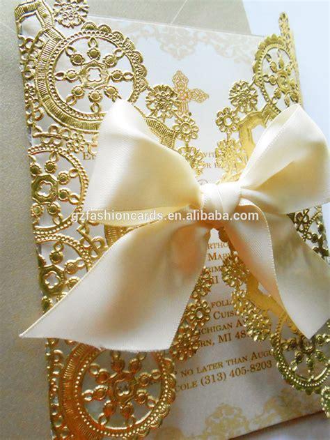 Doily Style Metallic Gold Invitation,Foil Paper Wedding