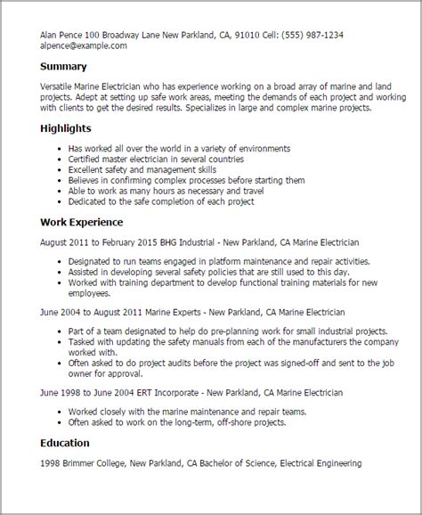 cv template lcvp 1 marine electrician resume templates try them now