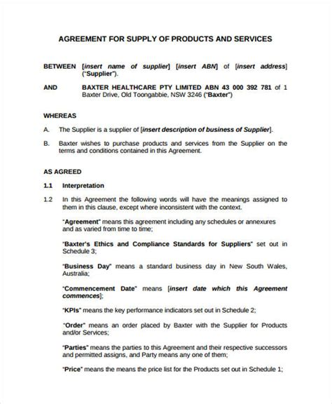 master supply agreement template service agreement forms