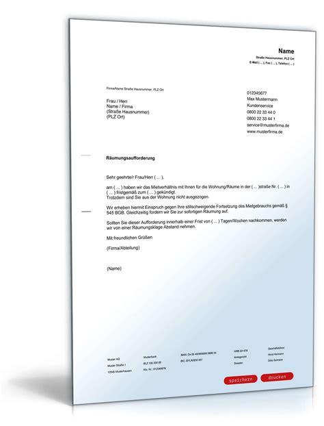 Musterbrief Bewerbung Mietwohnung R 228 Umungsaufforderung Muster Zum