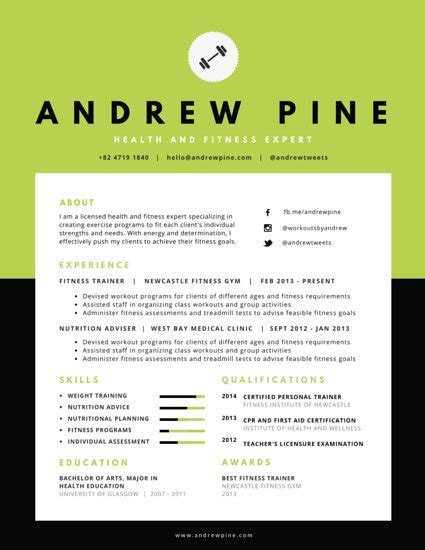 sle health and fitness resume professional resume templates canva