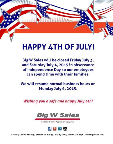 Holiday Closure Notice Happy 4th Of July Email Template