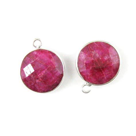 wholesale sterling silver bezel dyed ruby gemstone