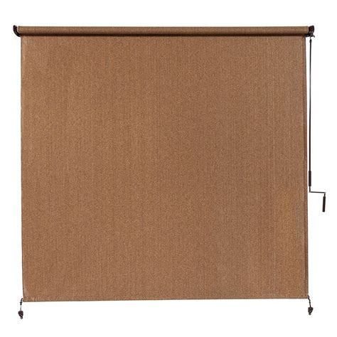 home depot l shades coolaroo walnut cordless exterior roller shade 120 in w